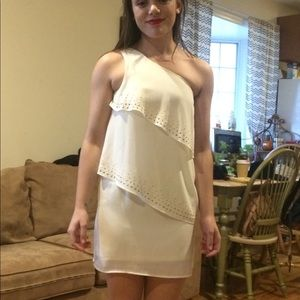 One strap white dress with Gold accents